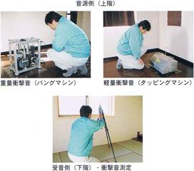 重量衝撃音(バングマシン)・軽量衝撃音(タッピングマシン)・受音側(衝撃音測定)